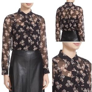 Kate Spade Black Floral Button Down